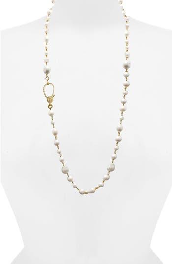 Jane Basch Long Pearl & Diamond Necklace
