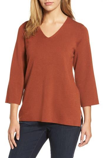 Eileen Fisher Merino Wool V-Neck Top, Red