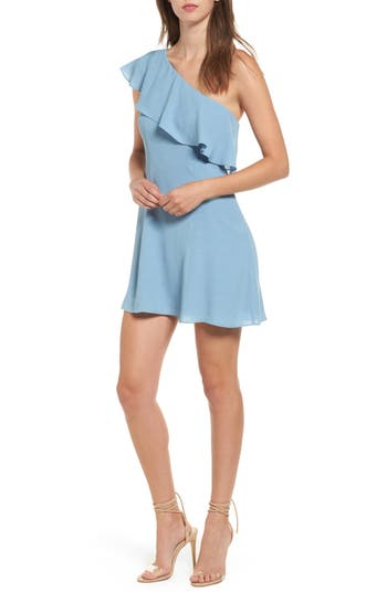 Women's Privacy Please Tate One-Shoulder Fit & Flare Dress, Size Small - Blue