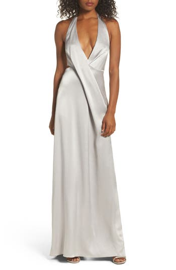 Halston Heritage V-Neck Draped Satin Gown, Grey