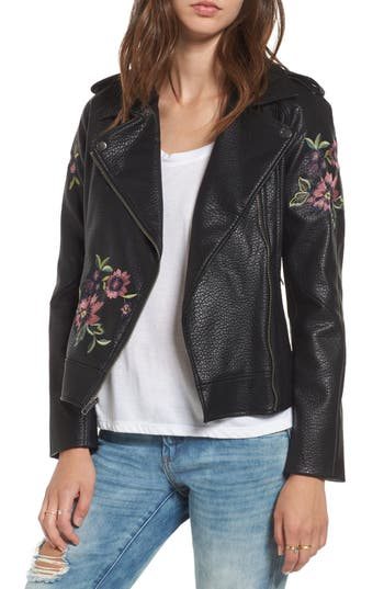 Women's Bb Dakota Baxley Embroidered Faux Leather Moto Jacket