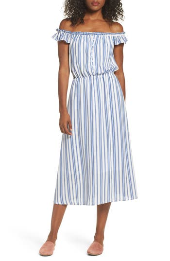 Women's Fraiche By J Prairie Off The Shoulder Dress, Size Small - Blue