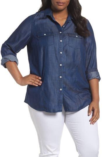 Plus Size Foxcroft Dylan Woven Tencel Shirt, Blue