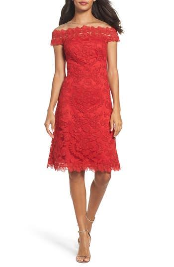 Tadashi Shoji Embroidered Sheath Dress, Red