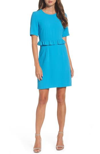 Charles Henry Ruffle Crepe Sheath Dress, Blue/green