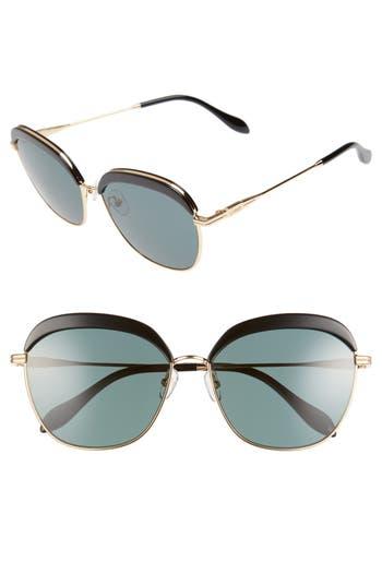 Sonix Birdie 60Mm Sunglasses - Black/ Green Solid