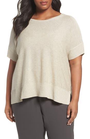 Plus Size Eileen Fisher Tencel & Merino Wool Top, Brown