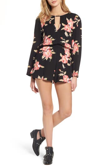 Women's Mimi Chica Floral Bell Sleeve Romper, Size X-Small - Beige
