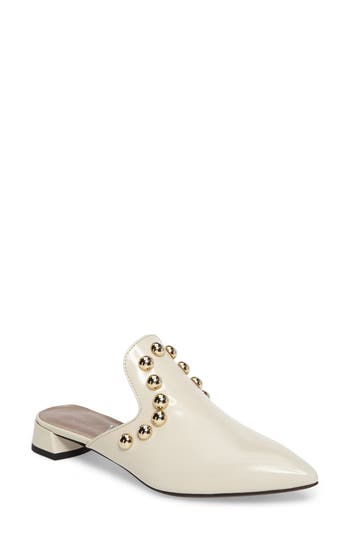 Agl Studded Loafer Mule, White