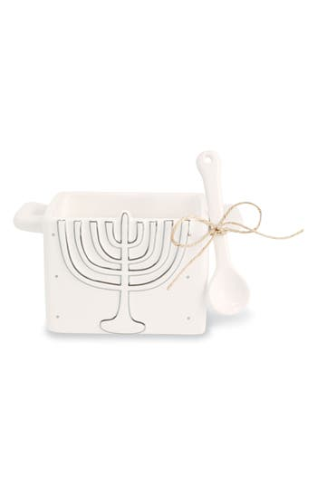 Mud Pie Menorah Hanukkah Candy Caddy & Spoon, Size One Size - White