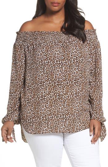Plus Size Women's Michael Michael Kors Off The Shoulder Leopard Print Top