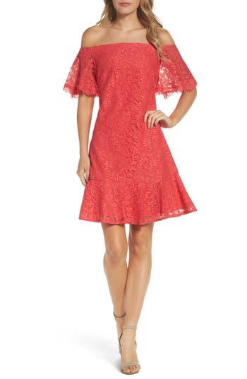 Eliza J Off The Shoulder Dress, Coral