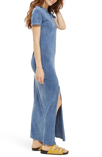 Topshop Lattice Back Jersey Maxi Dress, US (fits like 14) - Blue