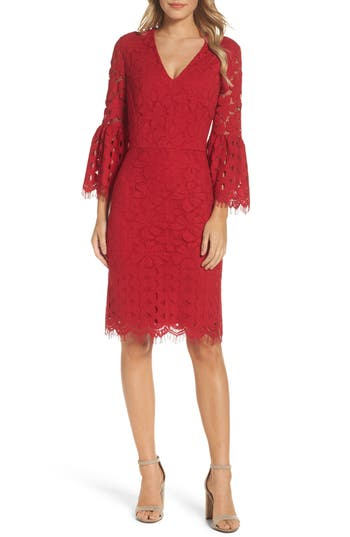 Maggy London Lace Bell Sleeve Dress, Red