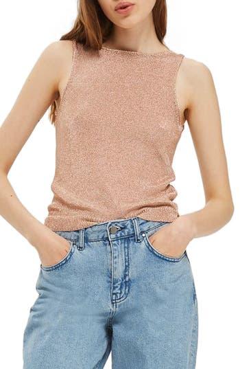 Women's Topshop Metallic V-Back Knit Tank