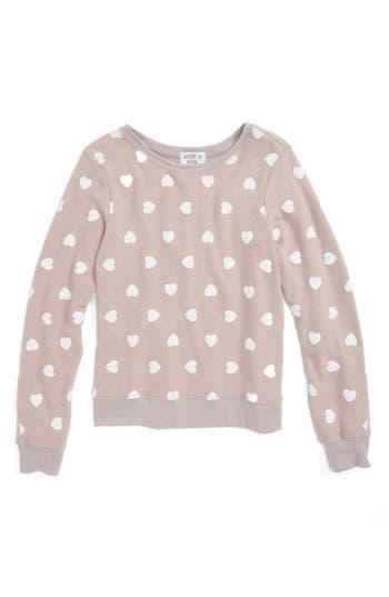 Girl's Wildfox Awkward Hearts Beach Sweatshirt, Size 14 - Pink