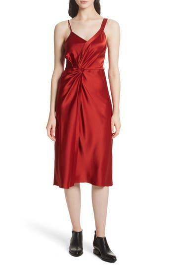 T By Alexander Wang Draped Satin Dress, Red
