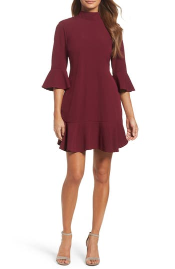 Chelsea28 Bell Sleeve Dress, Burgundy