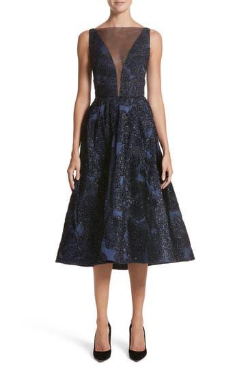 Lela Rose Metallic Jacquard Fit & Flare Dress, Blue