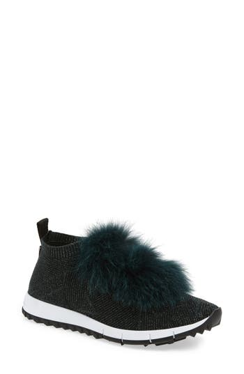 Jimmy Choo Norway Genuine Fox Fur Trim Slip-On Sneaker, Black