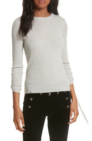 Veronica Beard Owen Drawstring Merino Wool Sweater, Grey
