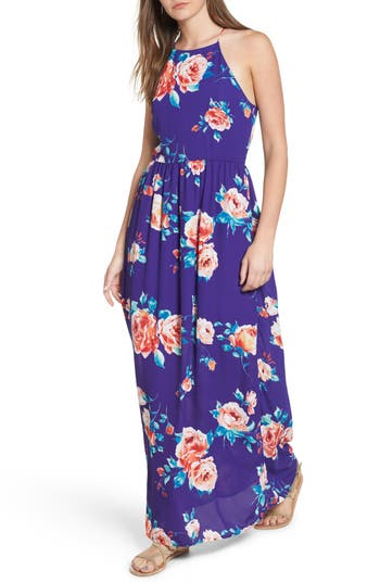 Everly Floral High Neck Maxi Dress, Blue