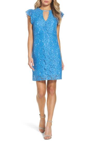 Charles Henry Lace Sheath Dress, Blue