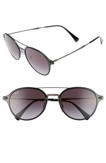Women's Ray-Ban 55Mm Round Gradient Sunglasses - Black