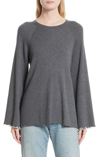 Elizabeth And James Georgine Merino Wool Blend Sweater, Grey