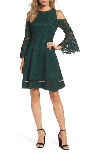Eliza J Bell Sleeve Cold Shoulder Fit & Flare Dress, Green