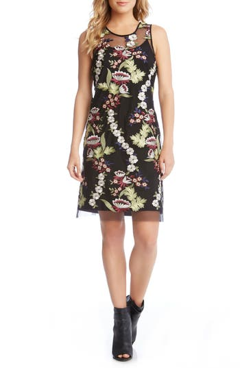 Karen Kane Floral Embroidery A-Line Dress, Black