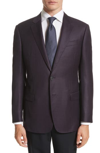 Armani Collezioni Trim Fit Houndstooth Wool Sport Coat, 0 US / 5 R - Red