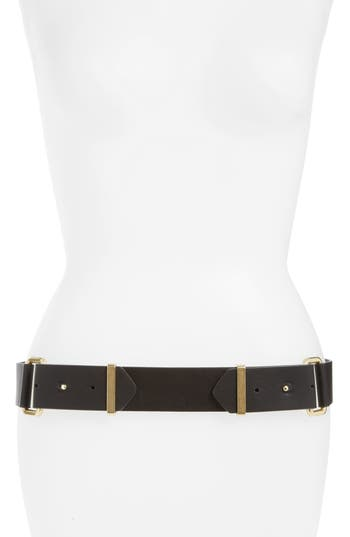 Topshop Double Pin Stud Faux Leather Belt, Gold Multi