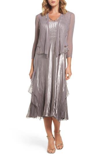 Komarov Waterfall Dress With Jacket, Grey