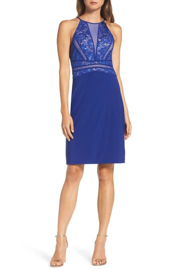 Morgan & Co. Sequin Embellished Lace Sheath Dress, /2 - Blue