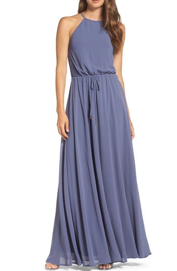 Lulus Be Mellow Cutaway Shoulder Chiffon Gown, Blue