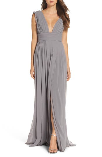Monique Lhuillier Bridesmaids Deep V-Neck Ruffle Pleat Chiffon Gown, Grey