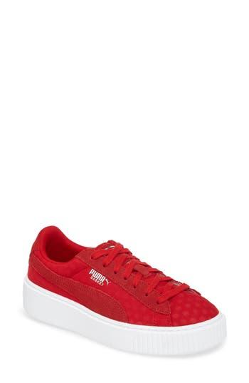 Puma Basket Platform Sneaker- Red