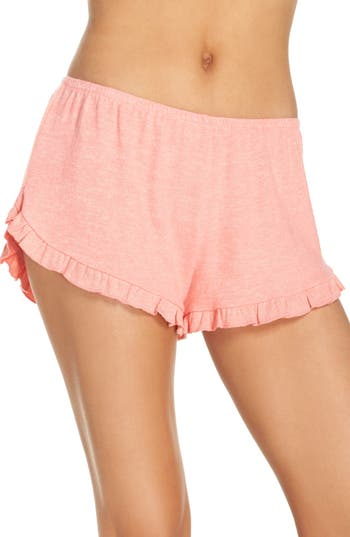Women's Make + Model Cozy Ruffle Shorts, Size X-Small - Coral