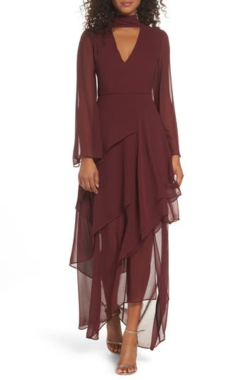 C/meo Collective Autonomy Choker Chiffon Gown, Red
