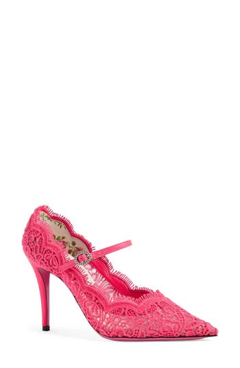 Women's Gucci Virginia Pointy Toe Mary Jane Pump, Size 5US / 35EU - Pink
