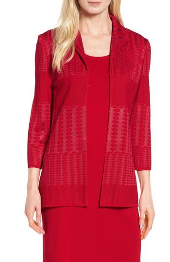 Ming Wang Tetxured Knit Jacket, Red