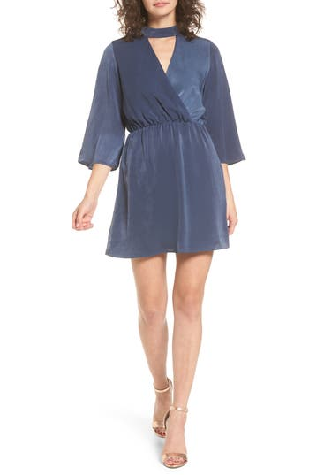 Everly Choker Neck Wrap Dress, Blue