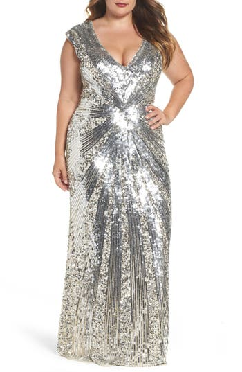 Plus Size MAC Duggal Sequin Plunging V-Neck Gown, Metallic