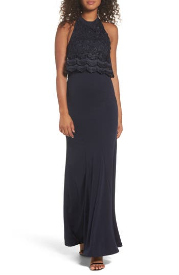 Lulus Sociable Lace Overlay Halter Mermaid Gown, Blue
