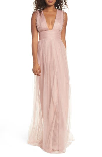 Monique Lhuillier Bridesmaids Isla Ruffle Pleated Tulle Gown, Pink