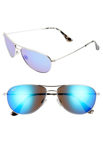 Maui Jim Sea House 60Mm Polarized Titanium Aviator Sunglasses - Silver/ Blue Hawaii