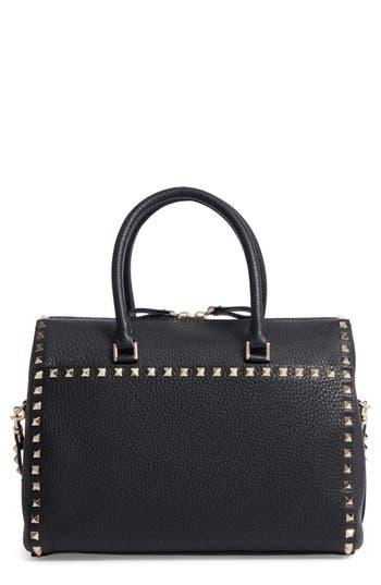 Valentino Garavani Rockstud Leather Duffel Bag - Black