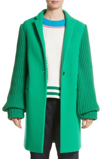 Women's Mira Mikati Ask Me Later Embroidered Knit Sleeve Coat, Size 6 US / 38 FR - Green
