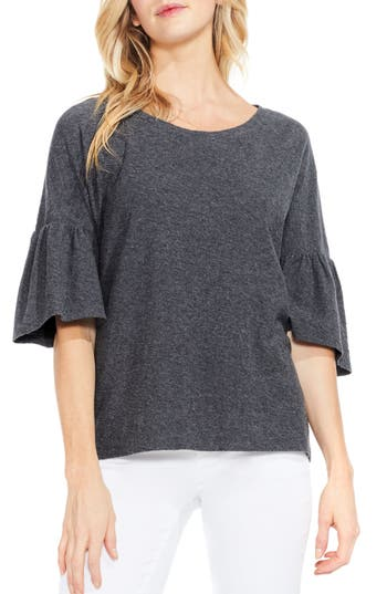 Two By Vince Camuto Relaxed Bell Sleeve Cotton Tee, Grey